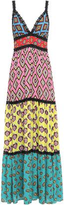 Alice + Olivia Karolina Crochet-trimmed Paneled Printed Crepe Maxi Dress