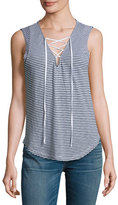 Splendid Taft Point Mini-Stripe Lace-Up Tank Top, White