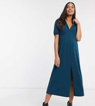 ASOS DESIGN Maternity ultimate midi tea dress with collar in blue