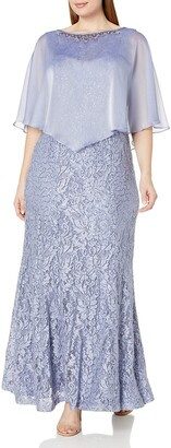 Ignite Women's Plus Size Sleeveless Embroidered Gown Dress with Capelet