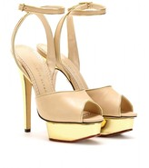 IRINA LEATHER PEEP-TOE SANDALS