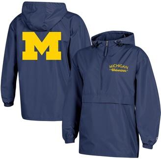 Champion Women's Navy Michigan Wolverines Packable Half-Zip Light Rain Jacket
