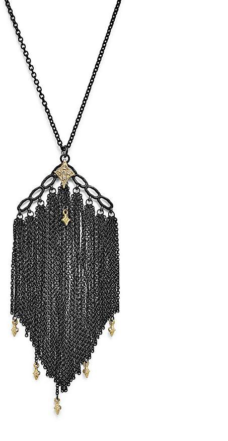 Armenta 18K Yellow Gold & Sterling Silver Old World Cravelli Tassel Necklace with Champagne Diamonds, 28""