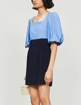 Sandro Puff sleeve crepe mini dress