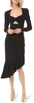 Michael Kors Collection Ruched Jersey Long-Sleeve Asymmetric Dress w/ Keyhole
