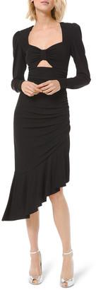 Michael Kors Ruched Jersey Long-Sleeve Asymmetric Dress w/ Keyhole