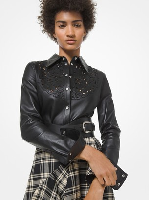 Michael Kors Collection Embroidered Plonge Leather Shirt
