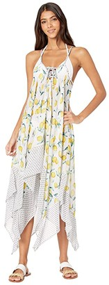 Jessica Simpson Nice Lemons Lace Front Cover-Up (Lemon Multi) Women's Swimwear