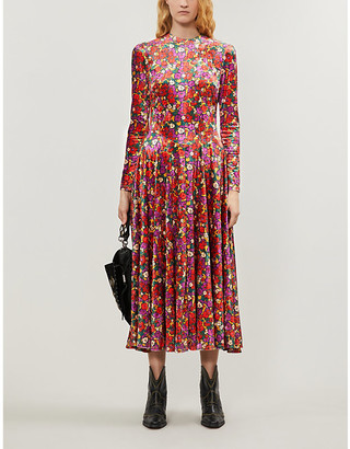 Free People Floral-print velvet midi dress