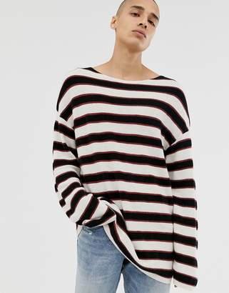 AllSaints dropped shoulder ecru sweater with black stripe