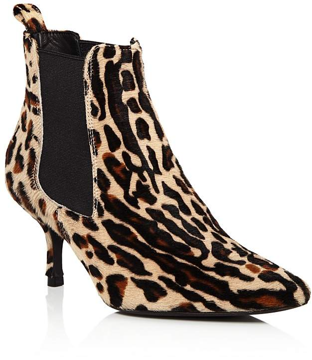 Anine Bing Women's Stevie Leopard Print Calf Hair Mid Heel Booties