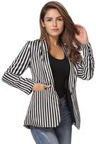 Romacci Women Blazer Contrast Stripes Pockets Long Sleeves Elegant Outwear Jacket
