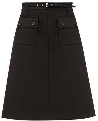 RED Valentino A-line Patch-pocket Twill Skirt - Womens - Black