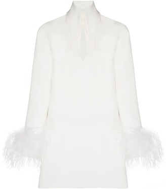 16Arlington Michelle feather-trim mini dress
