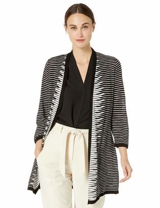 Kasper Women's SLUB Yarn Stripe 3/4 Sleeve Long Cardigan