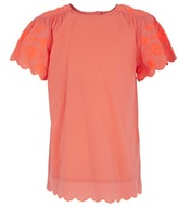 Stella McCartney Coral Tee with Embroidered Sleeves