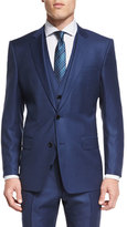 HUGO BOSS Hevans Three-Piece Wool Suit, Navy