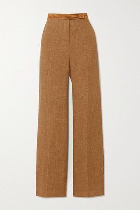 Max Mara Salubre Leather And Satin-trimmed Linen Wide-leg Pants - Camel