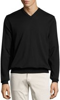 Neiman Marcus Wool V-Neck Sweater, Black