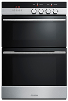Fisher & Paykel OB60B77CEX3 Built-In Double Electric Oven, Brushed Stainless Steel and Black Glass