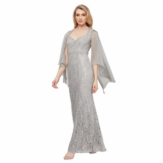 Ignite Women's Mother of The Bride Long Sequin Dress with Sleeves Grey 14