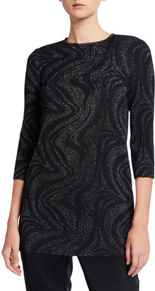 St. John 3/4-Sleeve Metallic Marbled Jacquard Knit Top w/ Sequin Detail
