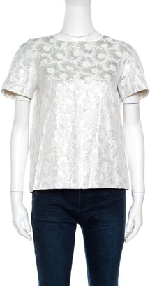 Max Mara Cream Floral Lurex Detail Falena Top M