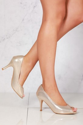 Miss Diva Bria slip on peep toe sandal in Gold