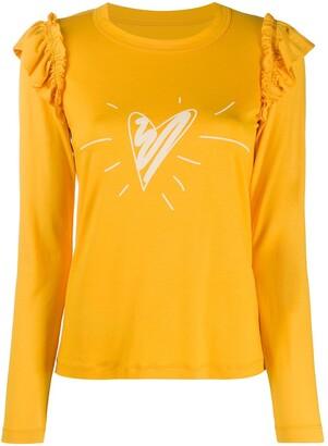 Viktor & Rolf x Calida heart-print ruffled T-shirt