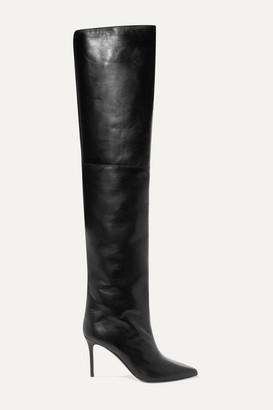 Alexandre Vauthier Alex Leather Thigh Boots - Black