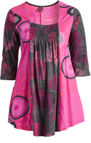 Aller Simplement Rose & Gray Abstract Swing Tunic - Plus