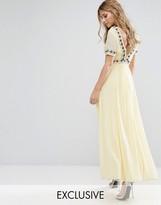 Maya Deep Back Maxi Dress with Full Skirt and Embellishment