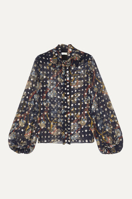 Chloé Ruffled Pussy-bow Printed Fil Coupe Silk-chiffon Blouse - Navy