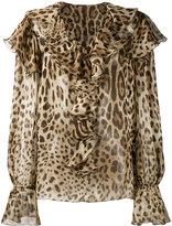 Dolce & Gabbana leopard print ruffle blouse