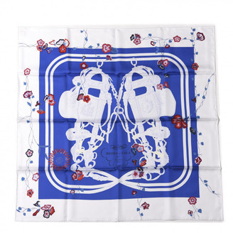 Silk Brides Fleuries Scarf 90 Bleu Roy White Rouge