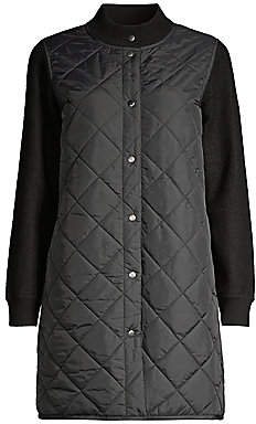Eileen Fisher Women's Stand Collar Quilted Wool Coat