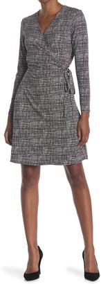 H Halston Long Sleeve Knit Wrap Dress