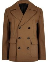 River Island Brown Smart Wool Blend Peacoat
