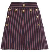 Maison Margiela Button-Detailed Striped Cotton Mini Skirt