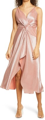 Bebe Knot Front Ribbed Satin Cocktail Dress