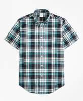 Brooks Brothers Milano Fit Green Madras Short-Sleeve Sport Shirt
