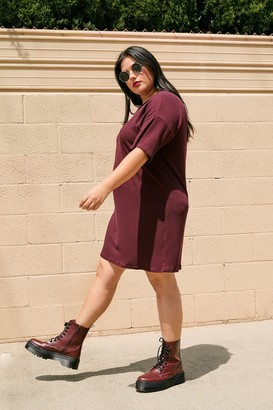 Nasty Gal Womens From Our Perspective Plus Mini Tee Dress - Wine