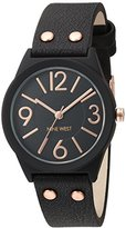 Nine West Women's Quartz Metal and Polyurethane Dress Watch, Color:Black (Model: NW/1932BKRG)
