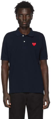 Comme des Garcons Navy Heart Patch Polo