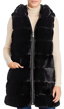 Via Spiga Grooved Faux Fur Vest