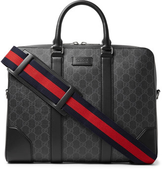 Gucci Leather-Trimmed Monogrammed Coated-Canvas Briefcase - Men - Black