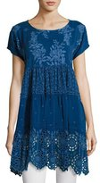 Johnny Was Arva Short-Sleeve Tiered Georgette Tunic, Blue, Plus Size