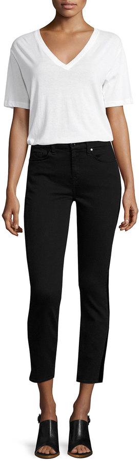 JEN7 Riche Touch Skinny Tux Ankle Jeans, Black