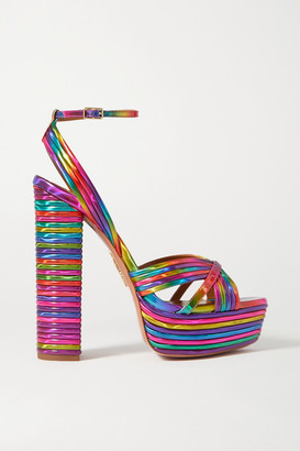 Aquazzura Sundance 140 Metallic Faux Leather Platform Sandals - Pink