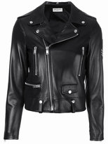 Saint Laurent military patch motorcycle jacket - women - Cotton/Lamb Skin/Polyester/Viscose - 36